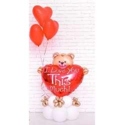 Мишка с сердцем и шарами