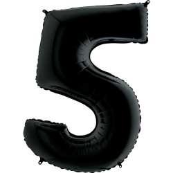 """Цифра фольгированная, 102 см  (черный) """"5"""""""