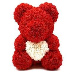 Мишка из роз с сердцем 40 см