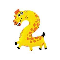 """Цифра фольгированная. На палочке. 41 см """"2"""". Жираф"""