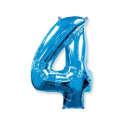 """Цифра фольгированная, 102 см  (синий) """"4"""""""