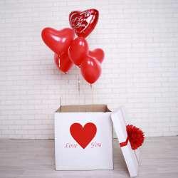 """Коробка с шарами № 21 """"Люблю тебя"""""""