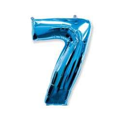 """Цифра фольгированная, 102 см  (синий) """"7"""""""