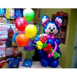 Лолли-маус с букетом и шариками