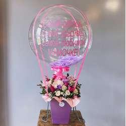 Космический шар №9 Шар Баблс с цветочной композицией