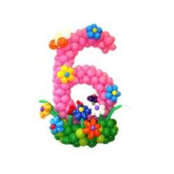 Цифра на полянке с цветами