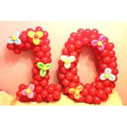 Цифра с цветами 4
