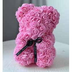 Мишка из роз с лентой 25 см