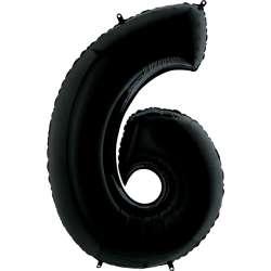 """Цифра фольгированная, 102 см  (черный) """"6"""""""