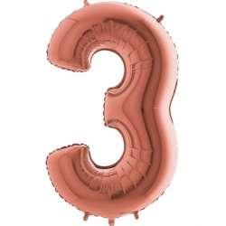 """Цифра фольгированная, 102 см  (розовое золото) """"3"""""""