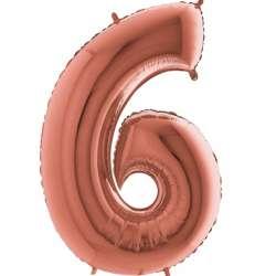 """Цифра фольгированная, 102 см  (розовое золото) """"6"""""""