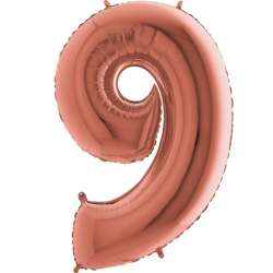 """Цифра фольгированная, 102 см  (розовое золото) """"9"""""""