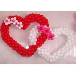 Сердце каркасное двойное с 6 цветками