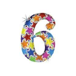 """Цифра фольгированная. 102 см  (дизайнерская) """"6"""""""